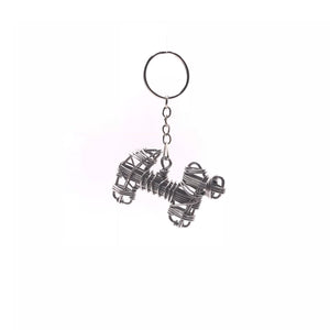 Miniature Wire Art Dog keychain hand-crafted from aluminium wire