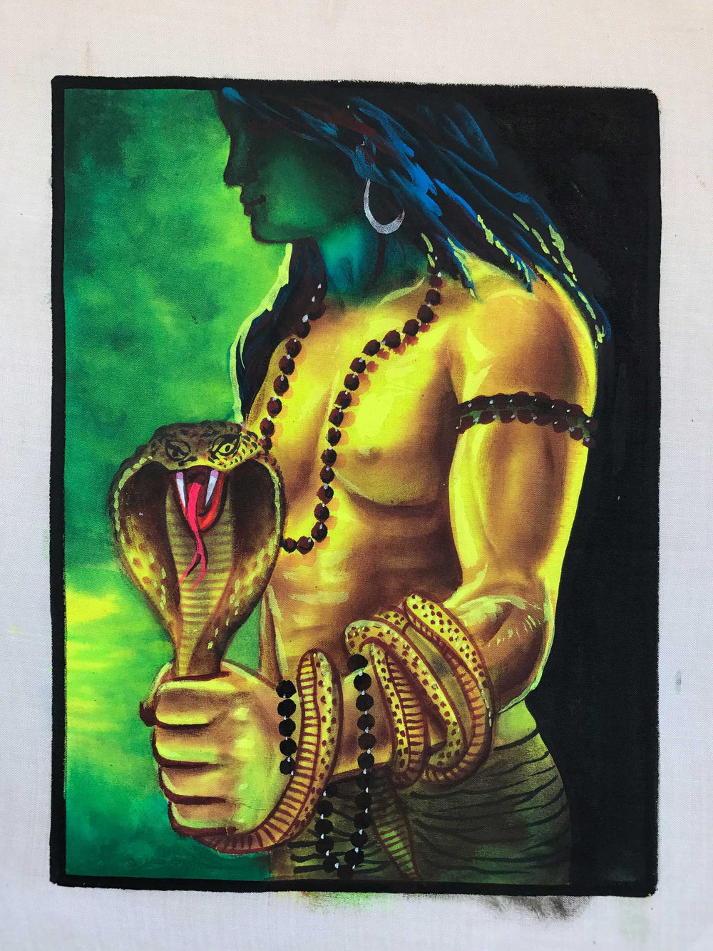 UV Glow Lord Shiva Snake painting made from fluorescent colors