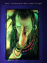 UV Glow Salaam Baba painting made from fluorescent colors