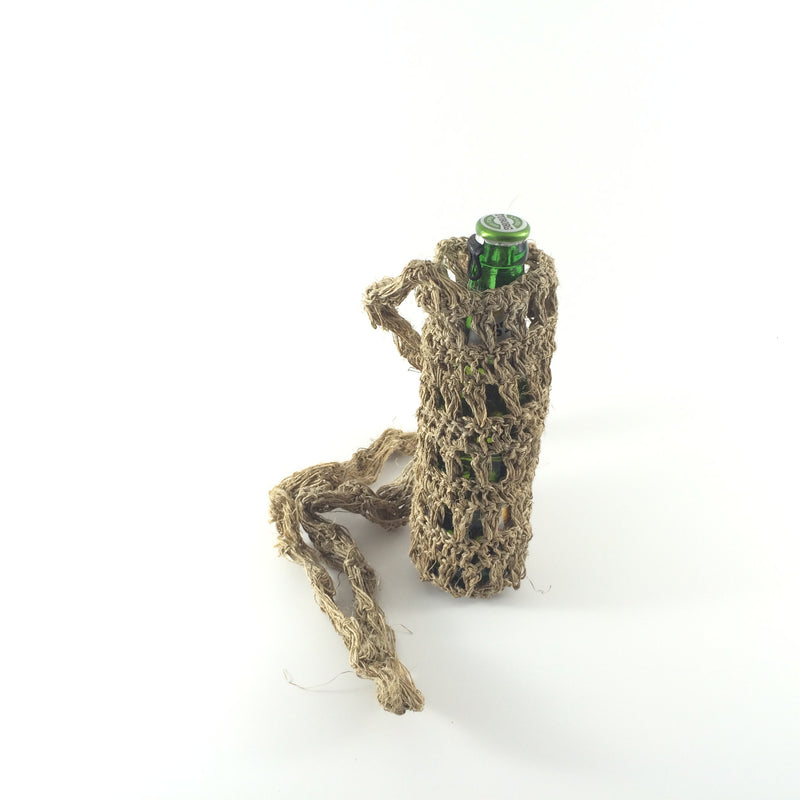 HEMP Bottle Holder made from 100% natural, organic and eco-friendly handwoven HEMP