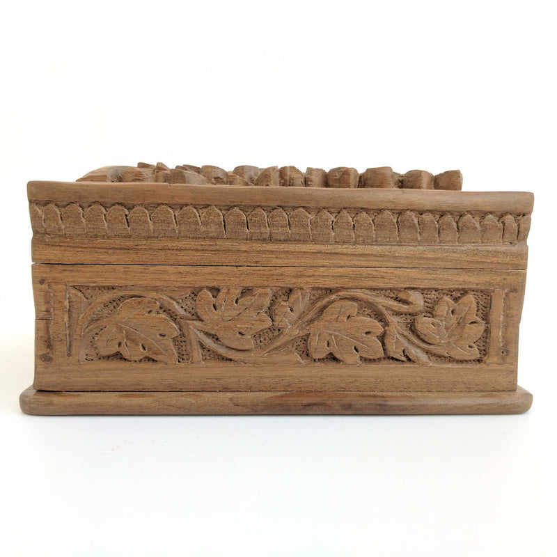 Secret Box made from walnut wood and hand carved flowers and leaves pattern to keep your jewelry safe