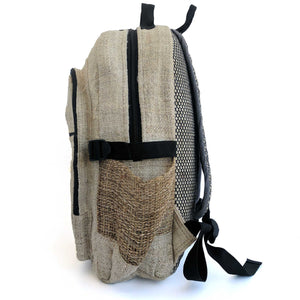 Hemp backpack made from 100% pure hand-woven Hemp side view