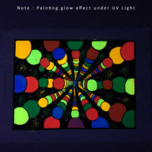 Load image into Gallery viewer, UV Glow Color Balls painting made from fluorescent colors