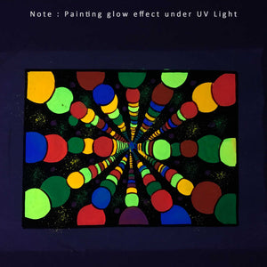UV Glow Color Balls painting made from fluorescent colors