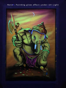 UV Glow Lord Ganesha painting made from fluorescent colors