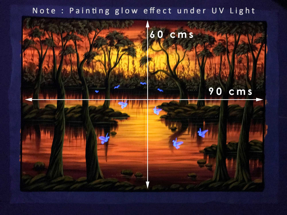 UV Glow Jungle Scenery Pink painting made from fluorescent colors