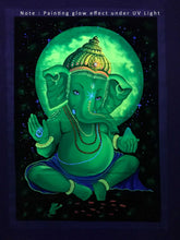 Load image into Gallery viewer, UV Glow Lord Ganesha painting made from fluorescent colors