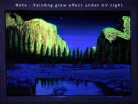UV Glow Mountain View painting made from fluorescent colors