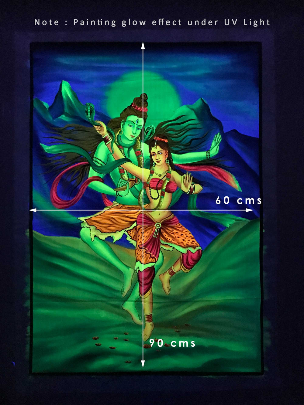 UV Glow Lord Shiva and Parvati painting made from fluorescent colors