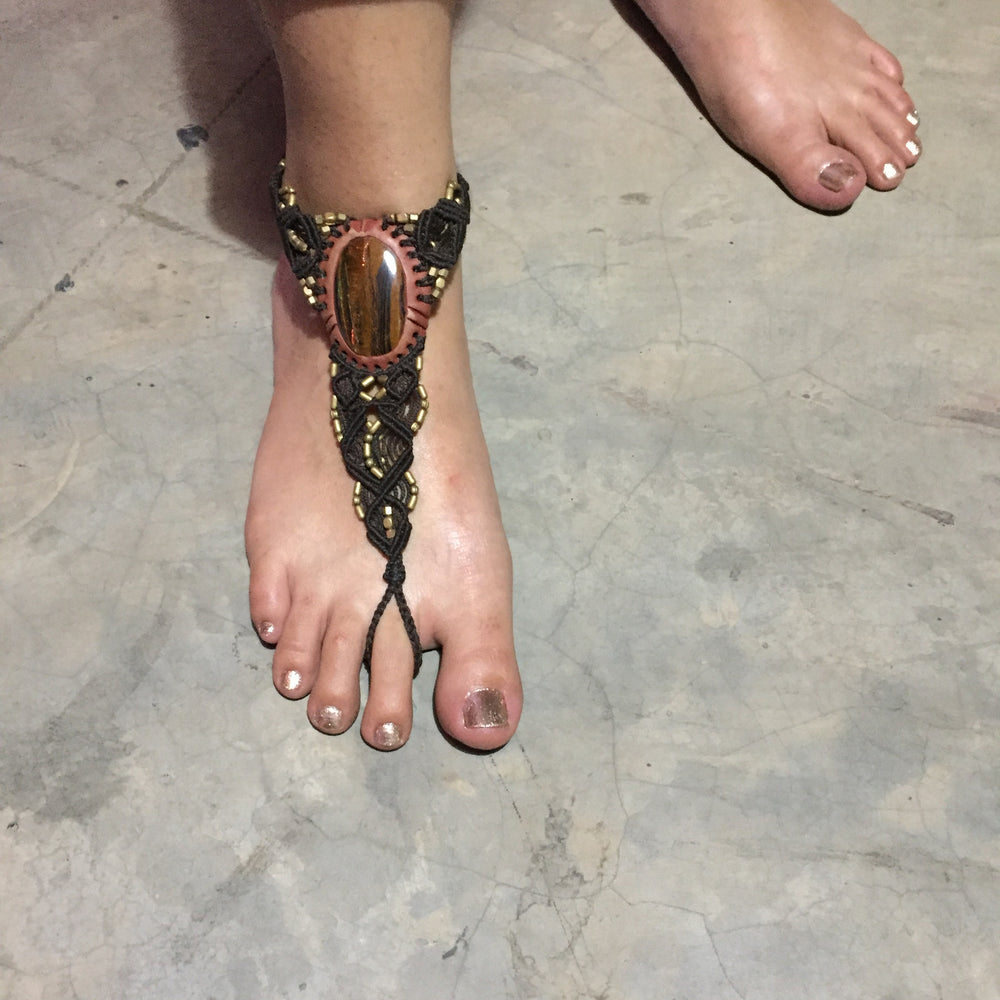 Bare Foot Sandals with Brass elements and stone