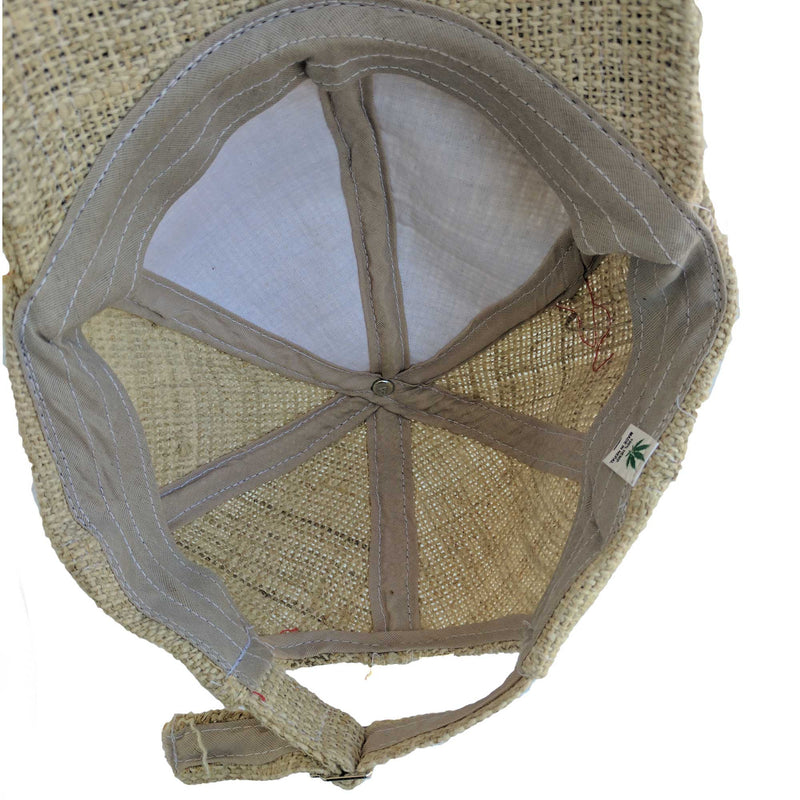 Hemp cap made from 100% pure hand-woven hemp inside look