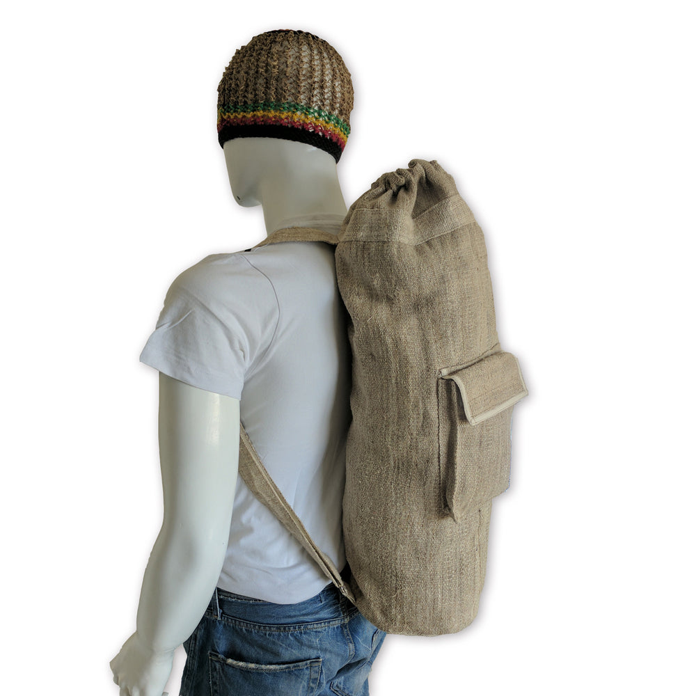Yoga Mat Bag made from 100% pure hand woven hemp size comparison