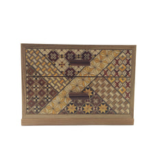Load image into Gallery viewer, Wooden Jewelry Box with 2 Drawers and Yosegi pattern