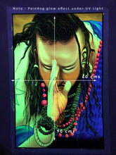 Load image into Gallery viewer, UV Glow Salaam Baba painting made from fluorescent colors