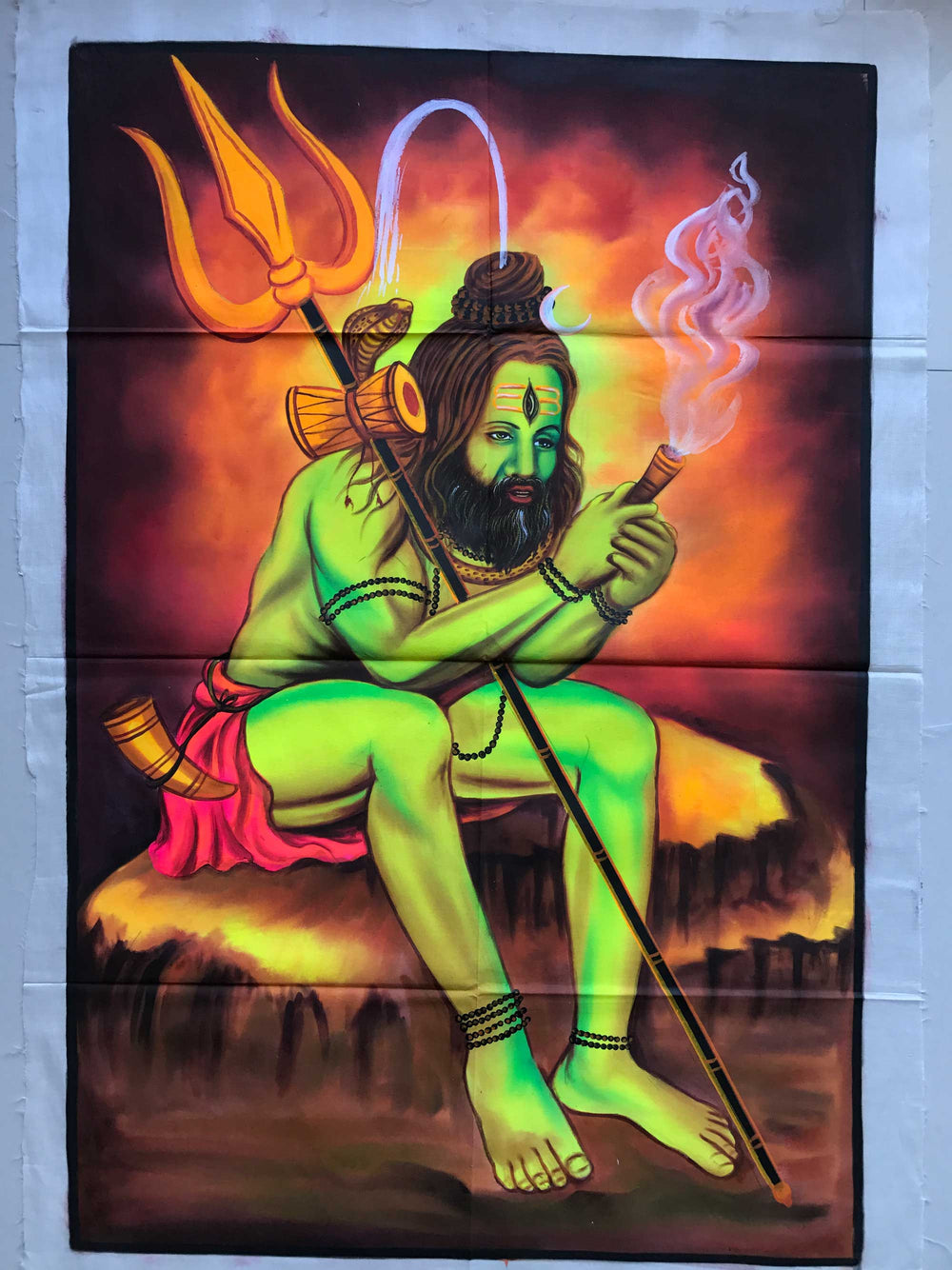 UV Glow Chillum Baba painting made from fluorescent colors