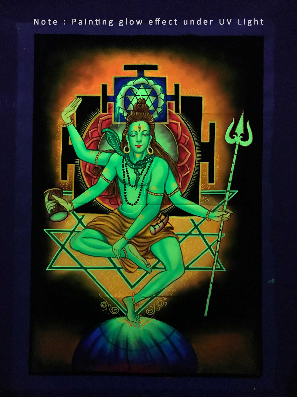 UV Glow Lord Shiva Tandav painting made from fluorescent colors