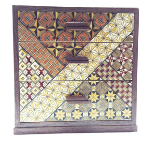 Wooden Box with 3 Drawers and Yosegi pattern