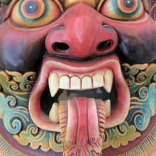 Load image into Gallery viewer, Guardian Bhairav Wooden Wall Mask big size