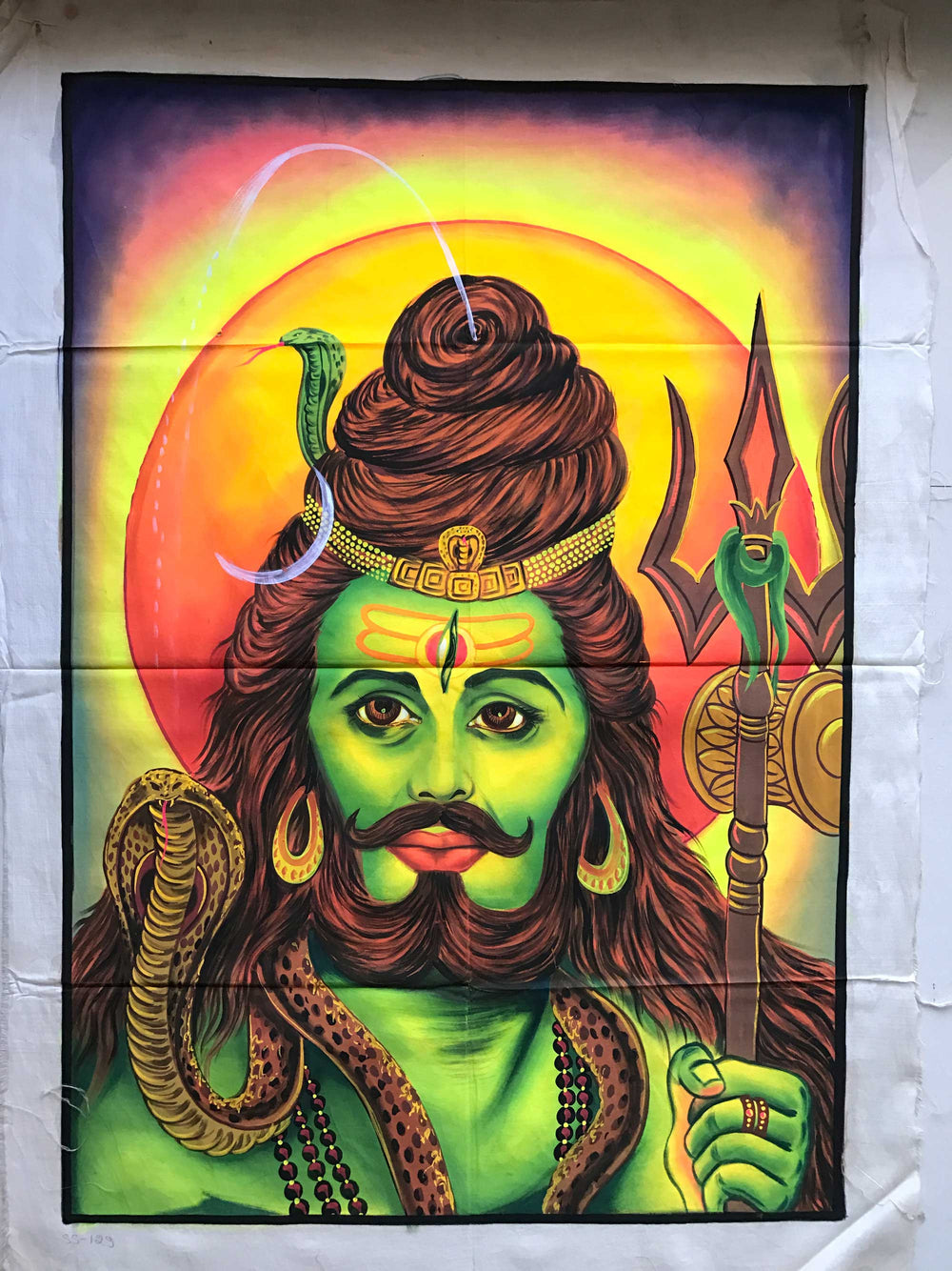 UV Glow Lord Shiva Mustache painting made from fluorescent colors