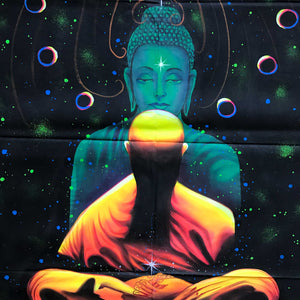 UV Glow Buddha Meditation painting made from fluorescent colors