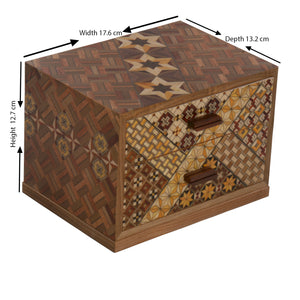Wooden Jewelry Box with 2 Drawers and Yosegi pattern