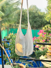 Load image into Gallery viewer, Crochet white Jhola Bag hand-crafted with Crochet work