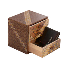 Load image into Gallery viewer, Wooden Box with 3 Drawers and Yosegi pattern