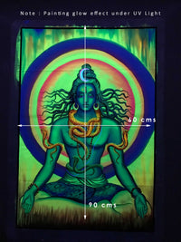 UV Glow Lord Shiva painting made from fluorescent colors