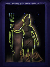 Load image into Gallery viewer, UV Glow Lord Shiva Outline painting made from fluorescent colors