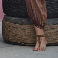 Bare Foot Sandals Brown color with brass elements