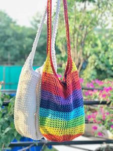 Crochet white Jhola Bag hand-crafted with Crochet work