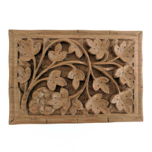 Load image into Gallery viewer, Secret Box made from walnut wood and hand carved flowers and leaves pattern to keep your jewelry safe