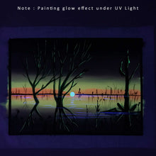 Load image into Gallery viewer, UV Glow Lake Sunset painting made from fluorescent colors