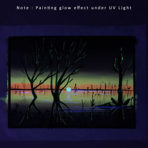 UV Glow Lake Sunset painting made from fluorescent colors