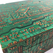 Load image into Gallery viewer, Techno Box handcrafted from MDF wood and recycled motherboard
