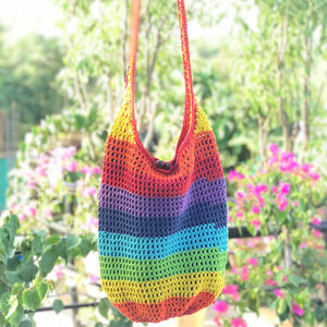 Crochet Rainbow Jhola Bag hand-crafted with Crochet work