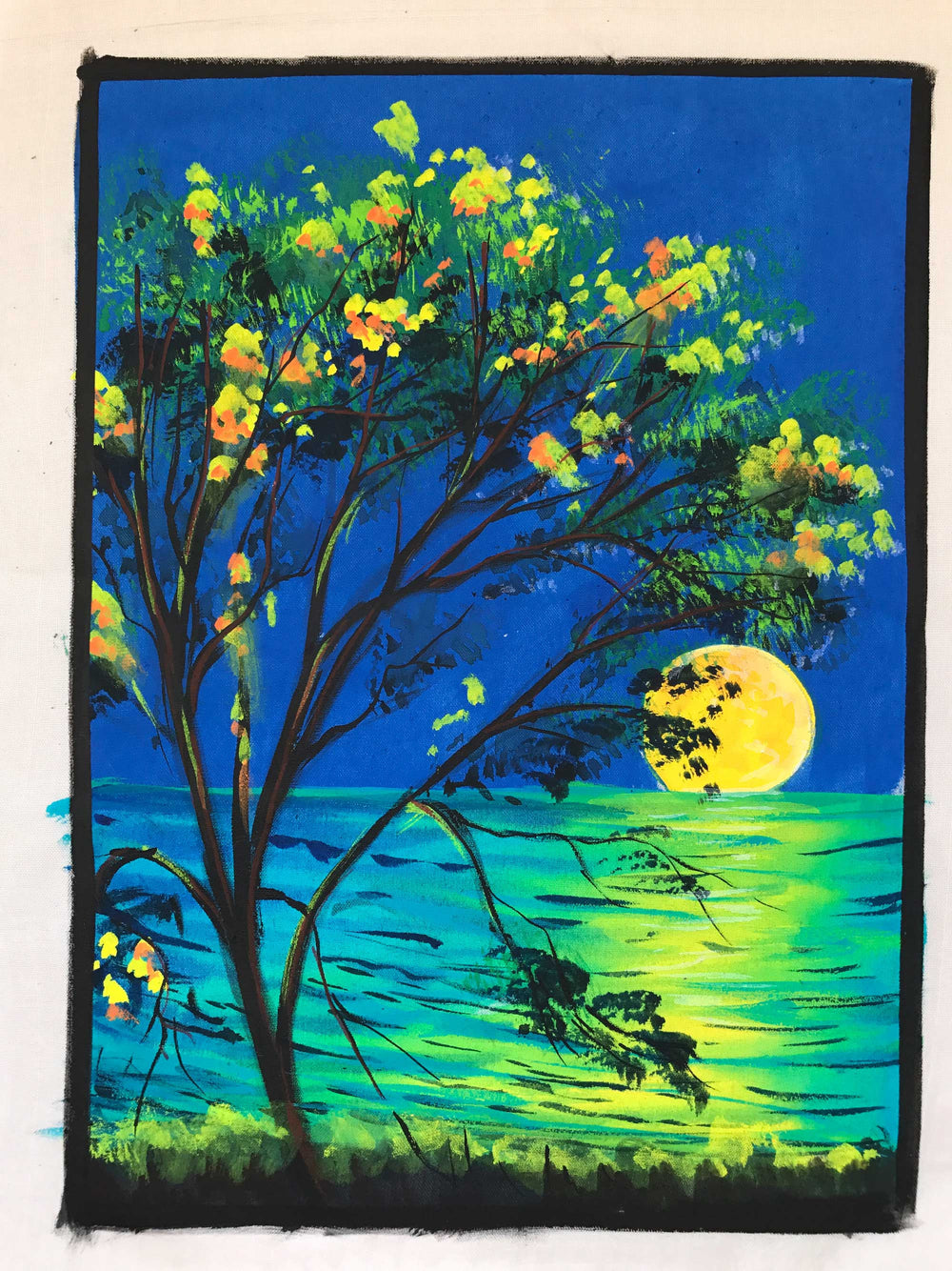 UV Glow Moonset View painting made from fluorescent colors