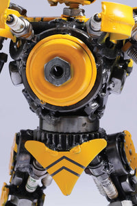 Transformers Bumblebee metal action figure hand-crafted from junk auto parts with attention to detail