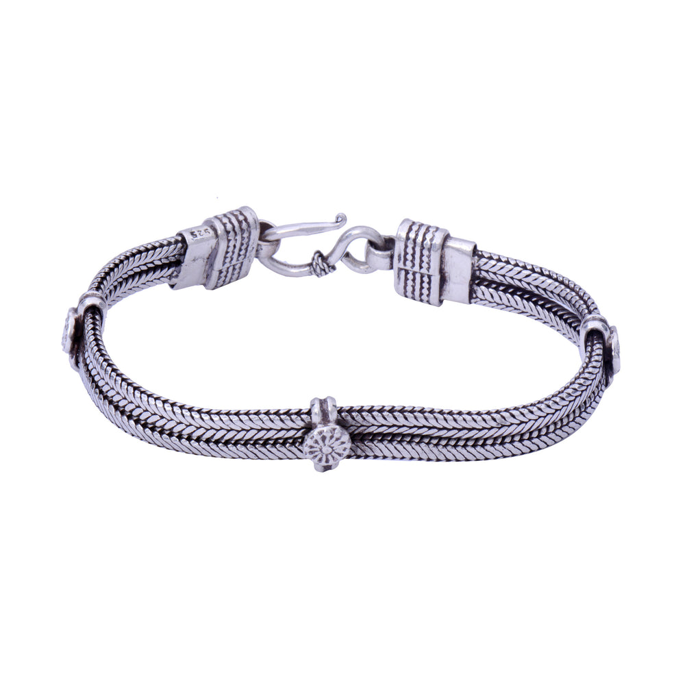 Sterling Silver Bracelet 2 Thick Strings
