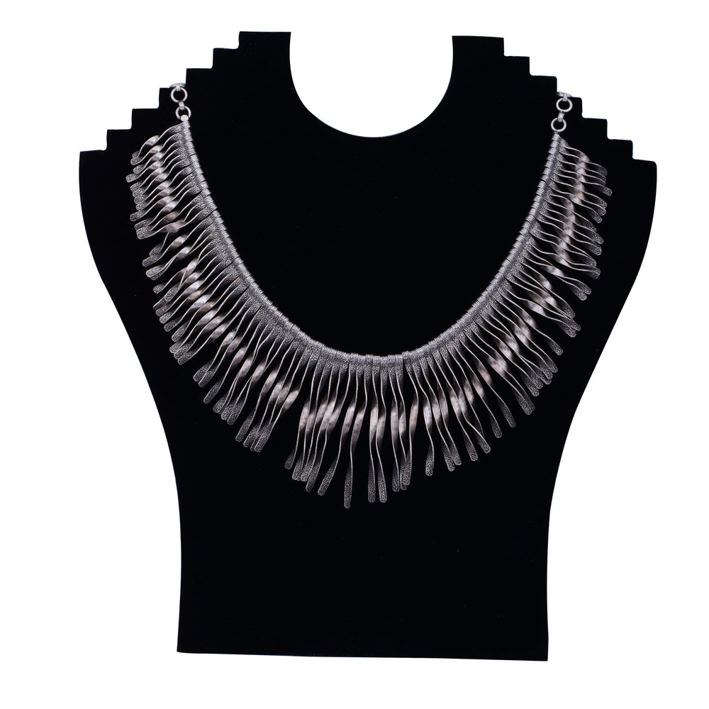 Sterling Silver Neckpiece Twisted Spikes