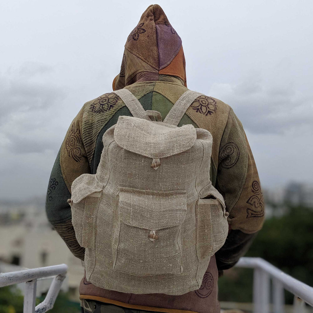 Pure hemp sack backpack