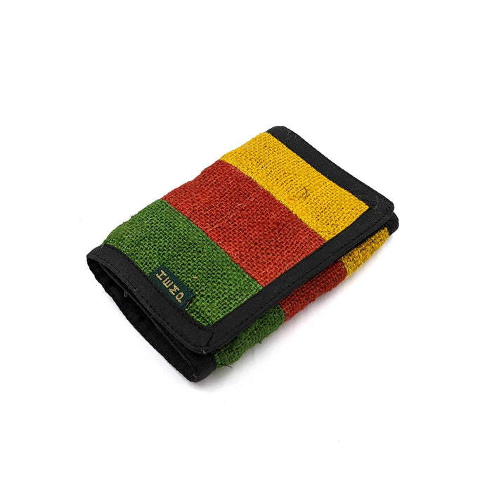 Hemp Wallet 3 Fold Rasta Front Look