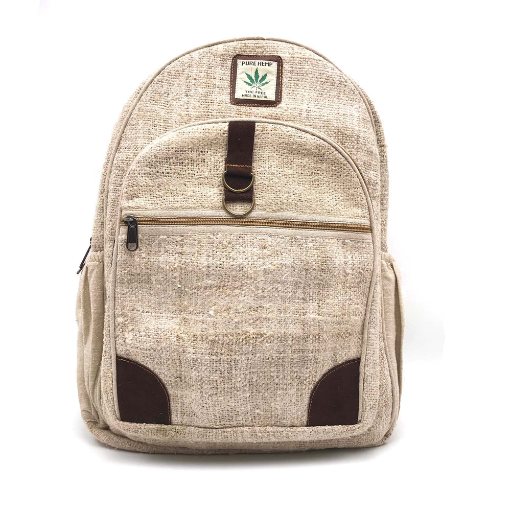 Backpack made from 100% pure hand-woven Hemp front view