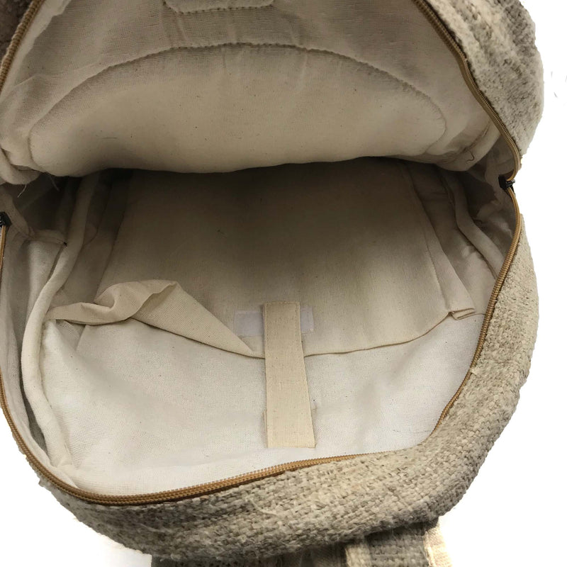 Backpack made from 100% pure hand-woven Hemp inside view