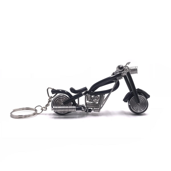 Miniature Wire Art Bike Keychain hand-crafted from aluminium wire