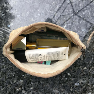 Pure Hemp Pouch made from 100% pure hand-woven HEMP inside view with cosmetics