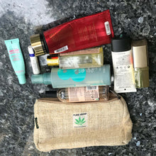 Load image into Gallery viewer, Pure Hemp Pouch made from 100% pure hand-woven HEMP comparison with women cosmetics