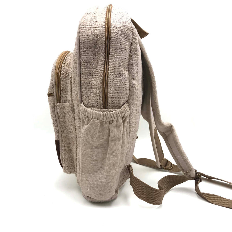 Backpack made from 100% pure hand-woven hemp side view