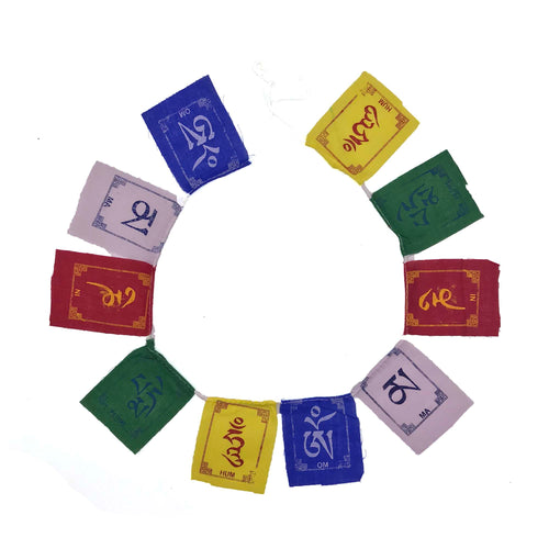 Buddhist Tibetan Prayer Flag Om Mani Padme Hum Cotton Mini open view