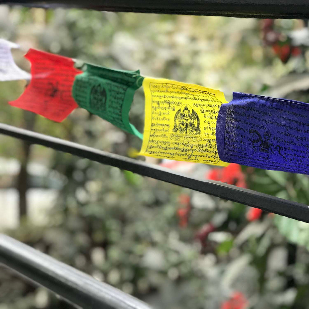 Buddhist Tibetan Prayer Flags Large 480cms outdoor view